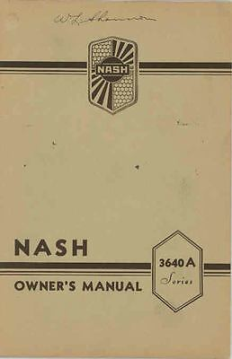 1936 Nash Six Series 3640A Owner's Manual NOS Revised wr3155-5RYXGM