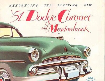 1951 Dodge Coronet & Meadowbrook Sales Brochure mw4290-DKZ445