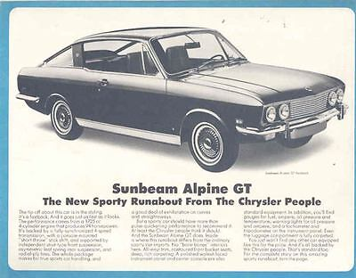1969 Sunbeam Alpine GT Sales Brochure mw8131-JK9UAY
