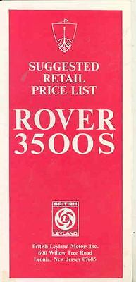 1970 Rover 3500S Price List Brochure mw8834-7ZHO1O