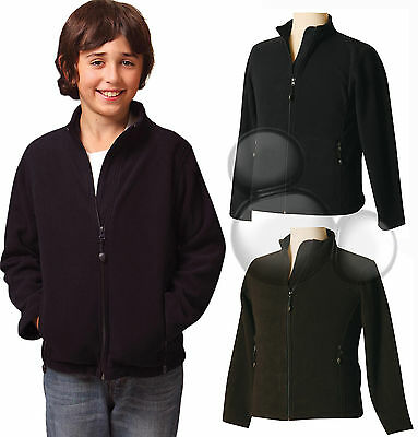 Kids Bonded Polar Fleece Zip Jacket Size 4 6 8 10 12 14 Black Navy New!