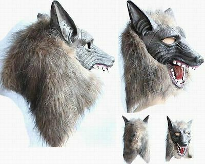 Wolf  Head Mask Creepy Halloween Costume Theater Prop Novelty Latex Fur Mane Gag