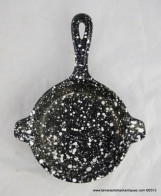 Enamelware Graniteware Miniature Cast Iron Frying Pan Black & White Speckled VTG