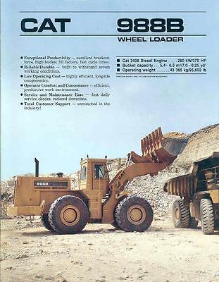 1989 Caterpillar 988B Construction Loader Brochure mw7370-872EQN