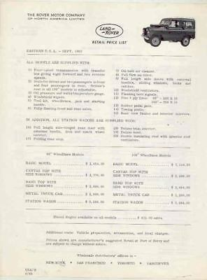 1963 Land Rover 88 & 109 Vehicle & Optional Accessories Prices Brochure wr6947-T