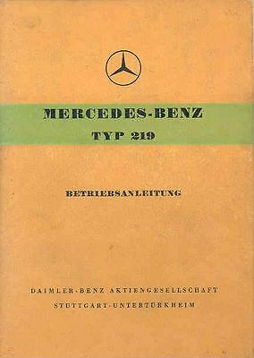 1956 Mercedes Type 219 Owner's Manual German fo1004-Y5OA2V