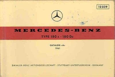1961 Mercedes Type 180c 180Dc Illustrated Parts Book fo1047-7Y7FMI
