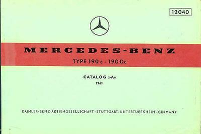 1961 Mercedes Type 190c 190Dc Illustrated Parts Book fo1051-D26Z28