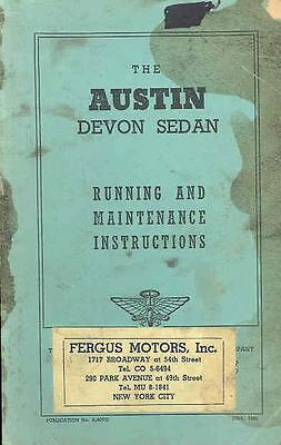 1951 Austin Devon Owner's Manual fo107-A2E1FI