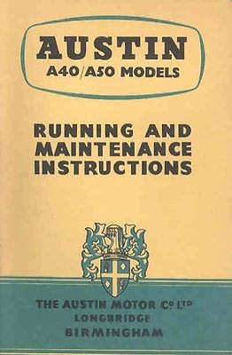 1956 Austin A40 and A50 Models Owner's Manual fo114-DZX6AF