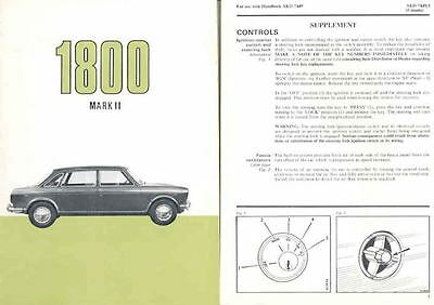 1970 Austin 1800 Mark II Owner's Manual fo158-J62CXY