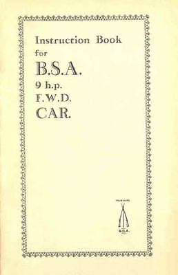 1933 BSA 9 HP Owner's Manual fo215-496E6W