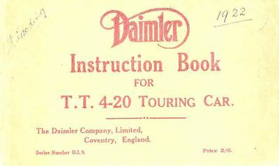 1922 Daimler TT 4 20 Touring Car Owner's Manual fo254-3NUNFW