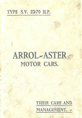 1929 Arrol-Aster Type SV 23 70 HP Owner's Manual fo48-TFRLCI