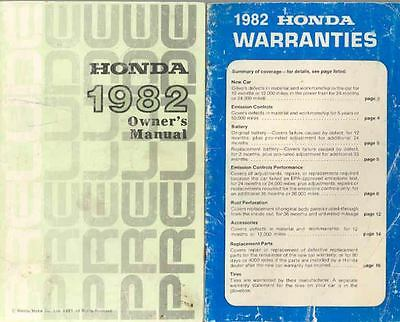 1982 Honda Prelude Owner's Manual and booklet fo510-1SAPMR