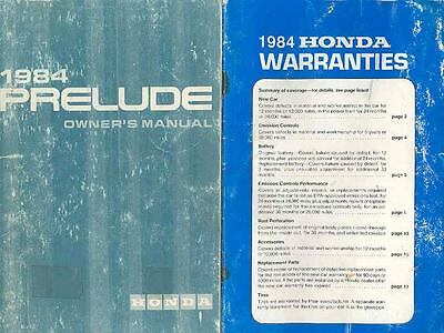 1984 Honda Prelude Owner's Manual and booklet fo518-BJF886