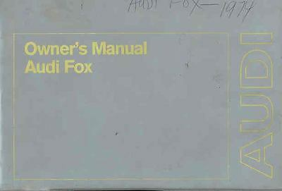 1974 Audi Fox Owner's Manual and Sleeve fo59-LG52OH