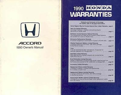1990 Honda Accord Owner's Manual with booklet fo619-DP7WIC
