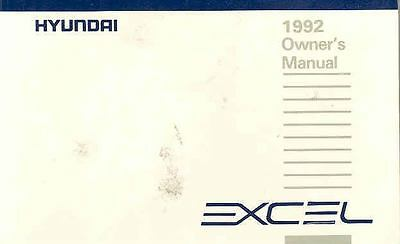 1992 Hyundai Excel Owner's Manual fo686-BYSHZ5