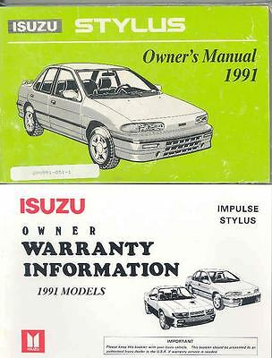 1991 Isuzu Stylus Owner's Manual with booklet fo745-NO3NPJ
