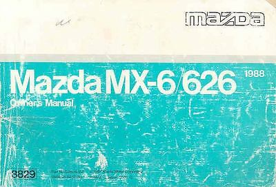 1988 Mazda MX6 and 626 Owner's Manual fo926-PWM1YP