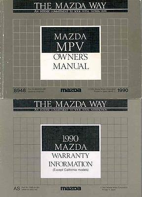 1990 Mazda MPV Owner's Manual and Pouch fo940-3TL6IT