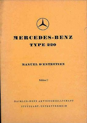 1953 Mercedes Type 220 Owner's Manual French fo985-GZ26DC