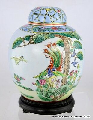 Large Macau Ginger Jar w/Lid & Stand Oriental Objects Dart Garden Bkue Birds