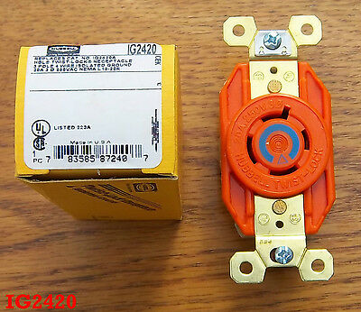 Hubbell IG2420 HBL2420 20 Amp 250 Volt 3 Ø L15-20R RECEPTACLE Isolated Ground