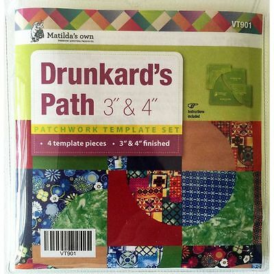 "Matildas Own Drunkards Path Patchwork Template Set-4 pieces for 3"" and 4"" blocks"