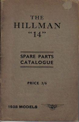Hillman 14 original illustrated Spare Parts Catalogue for 1938 models