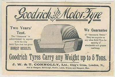 1904 Goodrich Automobile Tyres Tires Connolly Ad England wr9296-5ZBPYM