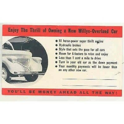 1939 Willys Overland Factory Postcard JW Frazer President wr9823-T9AAHC