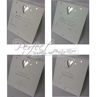White Wedding Invitations Day Evening Reception Thank You Save The Date Silver
