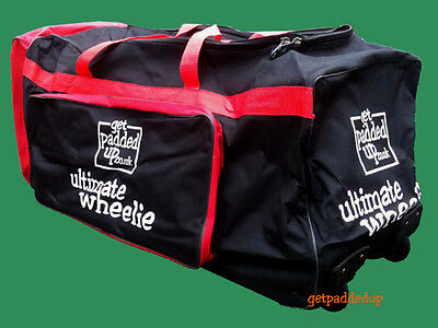 getpaddedup Ultimate Wheelie Cricket Kit Bag : Wheeler : Large : Black and Red
