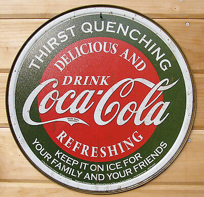 Coca Cola Thirst Quenching ROUND TIN SIGN vtg retro coke metal wall decor #1659