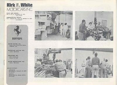 June 1971 Kirk White Sports Car Brochure Ferrari Porsche 300SL Cobra wt0998