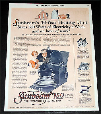 1926 Old Magazine Print Ad, Sunbeam, The Guaranteed Electric Iron & Case, Art!