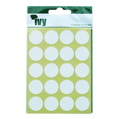 168 STICKY WHITE 24mm LABELS DOTS ROUND CIRCLES SELF ADHESIVE STICKERS by IVY