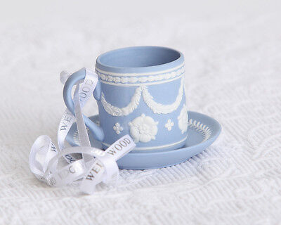 "Wedgwood Blue Jasperware ""Tea Cup and Saucer"" Christmas Ornament -NIB!"