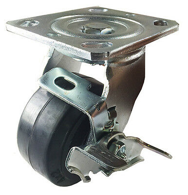 "4"" x 2"" Heavy Duty ""Rubber on Cast Iron"" Caster - Swivel with Brake"