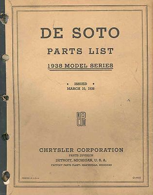 1938 DeSoto Chassis & Body Illustrated Parts Book I159-EUYWIJ