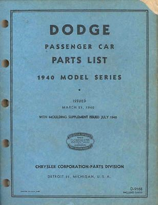 1940 Dodge Passenger Car Chassis & Body Illustrated Parts Book I186-L8B19F