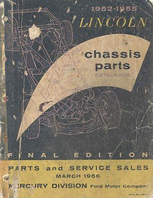 1952 1953 1954 1955 Lincoln Chassis Illustrated Parts Book I378-519ZBB