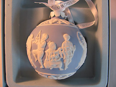 "Wedgwood Blue Jasperware ""Merry Christmas and Happy New Year"" Ornament  NIB"