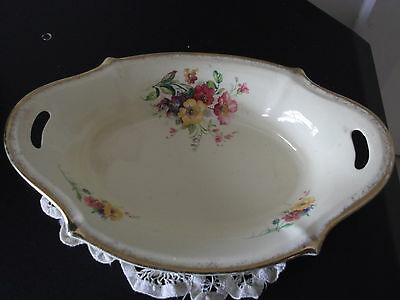 Royal Staffordshire Pottery Vintage  Cream Bowl Gold Trim Pink Yellow Flowers