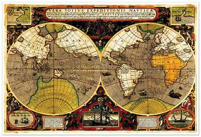 1595 old world exploration vintage map poster sir francis drakes sir francis drake old world voyages exploration map poster circa 1595 free ship gumiabroncs Image collections