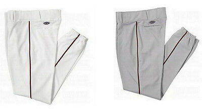 Easton Adult Piped Baseball Pants Traditional Fit Grey or White w/Black Piping
