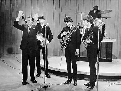The Beatles With Ed Sullivan Show Concert 8X10 Music B&w Glossy Photo