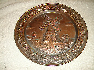 Vintage Windmill Brass Metal Decorative Wall Plate-Heavy Plate-Etched Metal